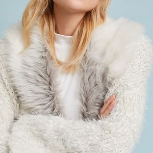 Anthro Sleeping On Snow Faux Fur-Collared Cardigan